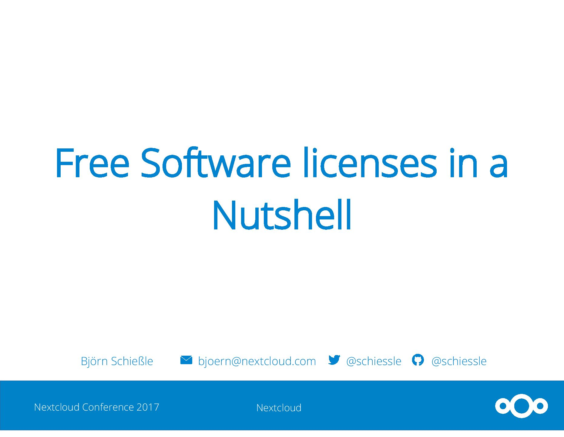 Nextcloud Conference 2017: Free Software licenses in a Nutshell